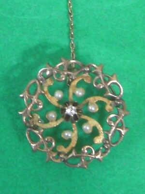 Antique Victorian 10K Yellow Gold, Seed Pearl & Diamond Pin Pendant Excellent