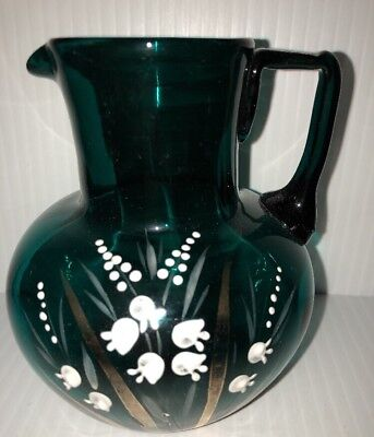 Stunning Teal Blown Mold Moser Art Glass Jug Enameled Lilly Valley Applied Handl