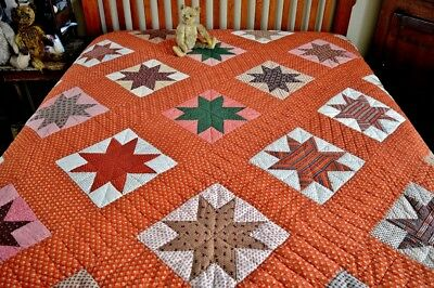 Antique 19th c Hand Stitched Eastern Star Quilt