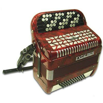 Excalibur  Leipzig Chromatic Button Accordion 72 Bass Red C System