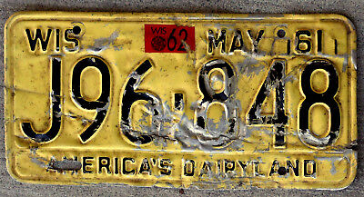 1961 Black on Yellow Wisconsin License Plate with a 1962 Sticker