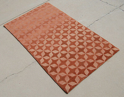3x5 Organic Wool Tibetan Knotted Rug, Solid Brown Star Natural Non-toxic Organic