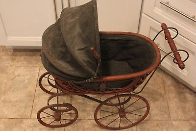 "Large Antique Vintage Wicker Rattan Baby Doll Pram Carriage Buggy 23"" Tall!"