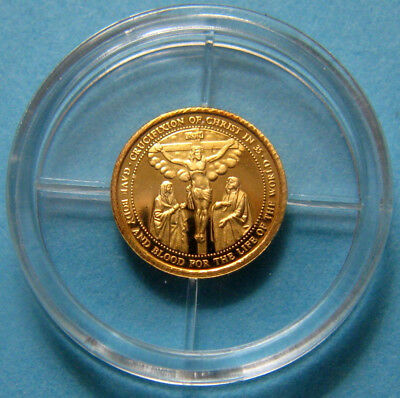1/2 Gram 14KT Solid Gold Coin - Mini Crucifixion of Christ - UNC