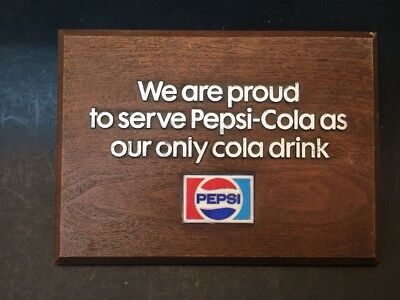 "Vintage 1970s Pepsi Cola ""We Are Proud to Serve Peps-Cola as Our Only Cola"" Sign"