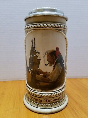 """1982 Collectors beer stein Norman Rockwell """"The Captain and First Mate"""" Serial #"""