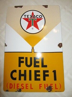 """Texaco Diesel Fuel Chief 1 porcelain pump plate sign """"Made USA 3-11-61"""" No Res"""