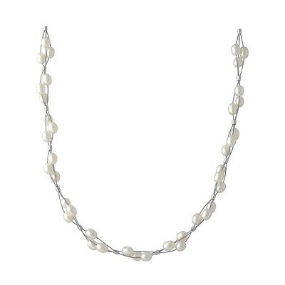 Wholesale / Gift 925 Sterling Silver White Pearl Three Strand Braid Necklace