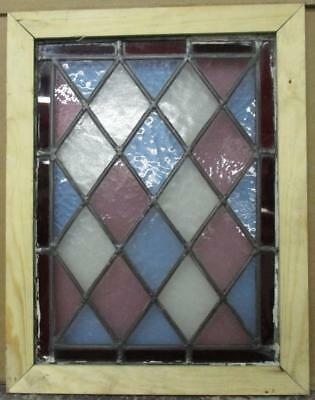 """OLD ENGLISH LEADED STAINED GLASS WINDOW Colorful Diamond 11.75"""" x 17.75"""""""