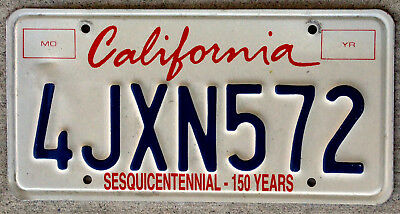 "California Cursive ""Lipstick"" Style Font Sesquicentennial License Plate"