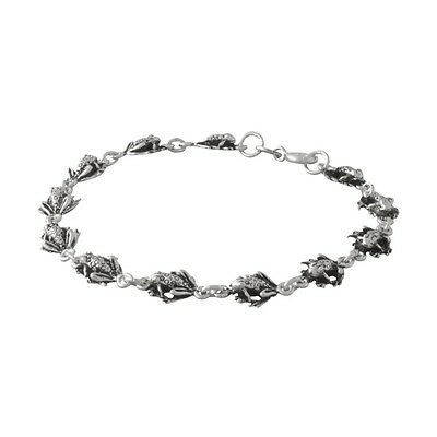 """Wholesale / Gift Sterling 925 Silver 9"""" Chain of Frogs Anklet or Large Bracelet"""