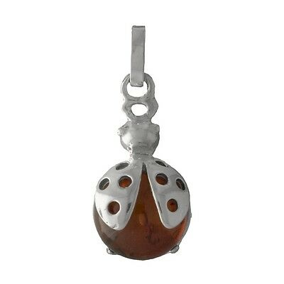 Wholesale Cute Sterling 925 Silver & Genuine Amber Ladybug Charm or Pendant