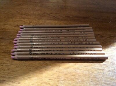 12 Vintage Multigraphics Division Multilith Eraser Sticks 40-2547
