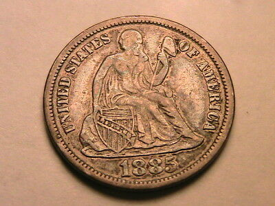 1885-P Ch XF Nice Album Toned Extra Fine Seated Liberty Dime Silver 10C USA Coin