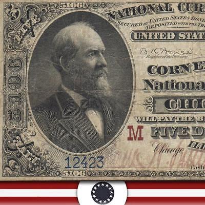 ATTRACTIVE 1882 $5 Chicago IL National Bank Note BROWN BACK