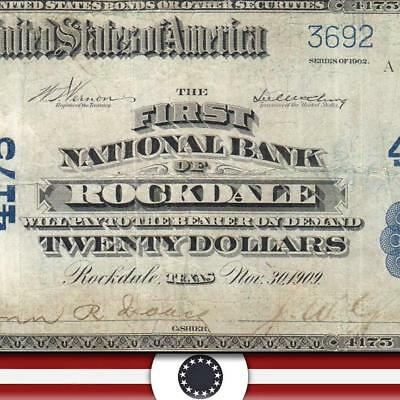 SCARCE 1902 $20 ROCKDALE, TX  National Bank Note BLUE SEAL  Milam County Texas