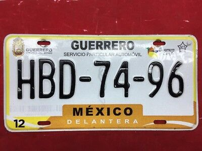 Guerrro Mexico License Plate Expired Graphic Background Hbd7496