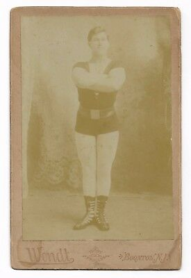 Antique VICTORIAN SIDESHOW STRONG MAN Circus Freak Show Performer Cabinet Photo