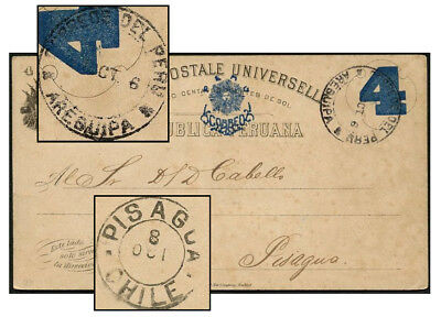 Peru 4¢ Psc Sep 1898 Arequipa To Pisagua Chile H&g 25