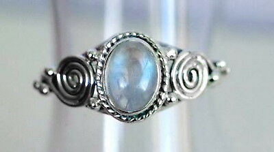 81 Rainbow Moonstone spiral ring solid 925 sterling silver sz M/O/R rrp44.95