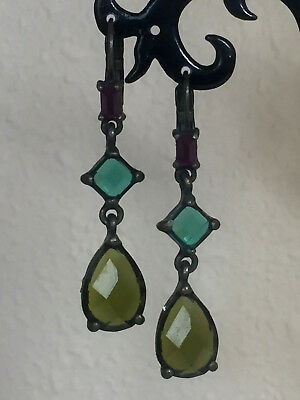 Vintage Purple and Green Faceted Lucite Earrings - Pierced