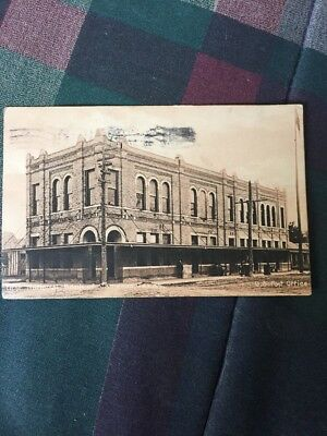 Texas Post Card Street Scene First National Bank & Post Office Cameron Texas WOW