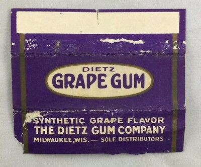 Antique Gum Wrapper Dietz Grape Gum Milwaukee Wisconsin Candy
