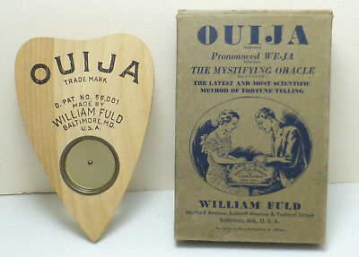 Vintage Original 1919 William Fuld Ouija Board Wood Planchette & Outer Box MINT