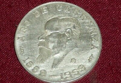 Nice Scarce 1959 Carranza, Mexico 5  Peso Silver Coin, 1 Year Type, Low Mintage!