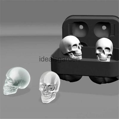 Skull Shape 3D Ice Cube Mold Maker Bar Party Silicone Trays Chocolate Mold