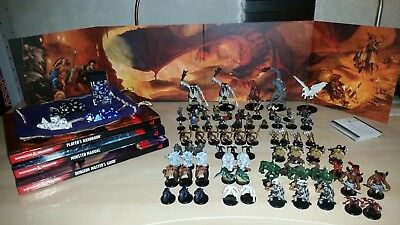Dungeons and Dragons Books, Miniatures(75) and Dice.