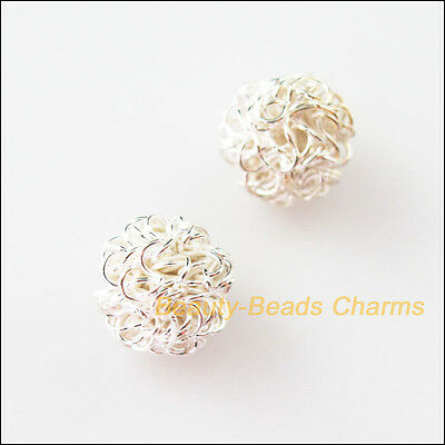 6Pcs Silver Plated Round Winding Hollow Spacer Beads Charms 12mm