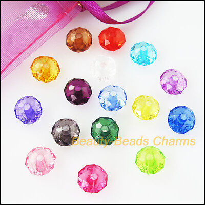 40Pcs Mixed Plastic Acrylic Clear Faceted Round Flat Charms Spacer Beads 12mm