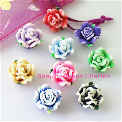 5Pcs Mixed Handmade Polymer Fimo Clay Flower Spacer Beads Charms 15mm