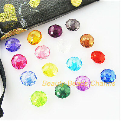 100Pcs Mixed Plastic Acrylic Clear Faceted Round Flat Charms Spacer Beads 8mm