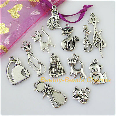 12Pcs Antiqued Silver Tone DIY/Animal Cat Mixed Charms Pendants
