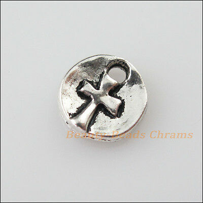 24pcs Tibetan silver crafted flat round charms h1056
