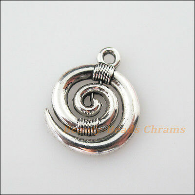 6Pcs Tibetan Silver Tone Ox Horn Winding Charms Pendants 15x18.5mm