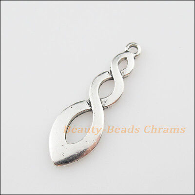 4Pcs Tibetan Silver Tone Chinese Knot Charms Pendants 11x35mm