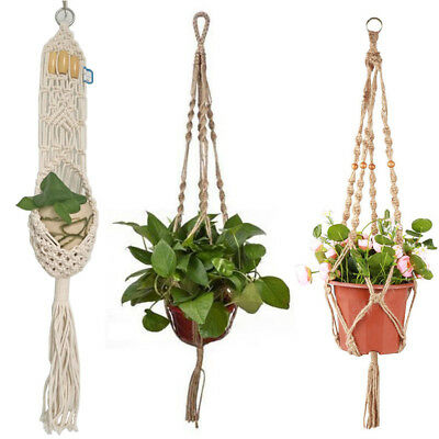 Braided Rope Macrame Hanging Basket Flowers Pot Holder Garden Plants Hanger 75cm