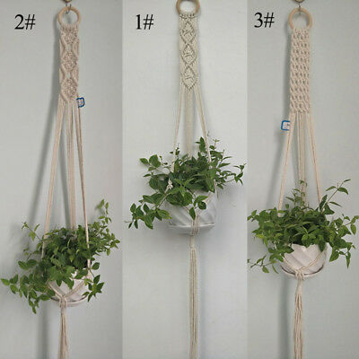 110cm Braided Rope Macrame Hanging Basket Flower Pot Holder Plant Hanger Decor