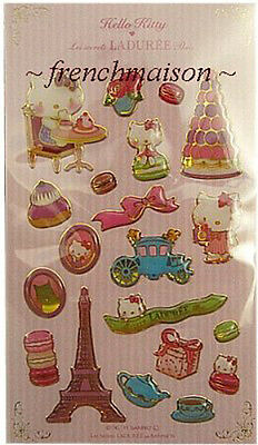 LADUREE HELLO KITTY Stickers Eiffel Tower Macaron New French Paris U.S. SELLER