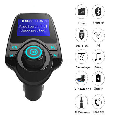 Bluetooth Wireless Car Auto FM Transmitter Radio Adapter USB Charger Mp3 Player