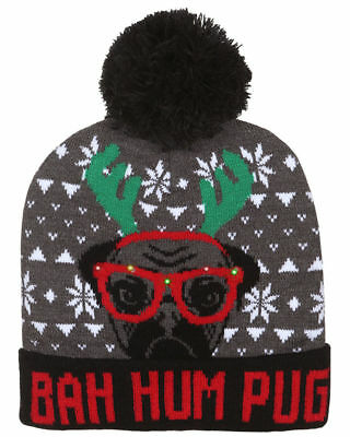 Capelli Boys Bah Hum Pug Light-Up Beanie Hat One Size Grey/red/black