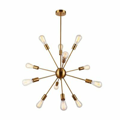 12 Lights Brass Modern Pendant Sputnik Chandelier Vintage Ceiling Light Fixture