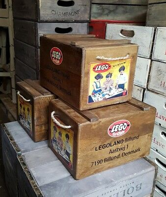 Vintage LEGO Toy Chest Wooden Storage Box Crate Rustic Retro stackable boxes