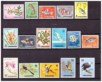 s19940) SINGAPORE 1962 MNH** Definitives 16v. Birds Flowers Fishes