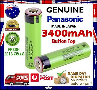 Panasonic NCR 18650 B 3400mAh Button Top Li-Ion Rechargeable Battery GENUINE
