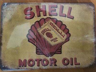 Shell Motor Oil tin sign. Mancave Signs Aussie Seller