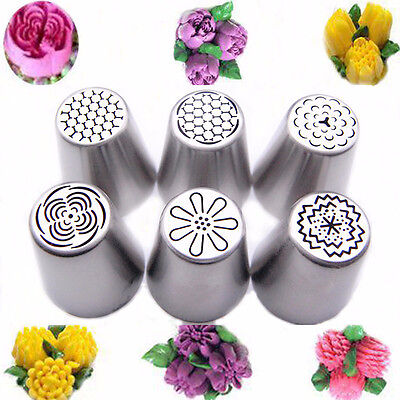 6Pcs/set Russian Icing Piping-Nozzle Stainless Tips Flower Cake Decorating Tool.